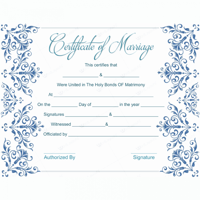 Fake Marriage Certificate Template Inspirational 5 Plus Adorable Blank Marriage Certificate Designs for Word