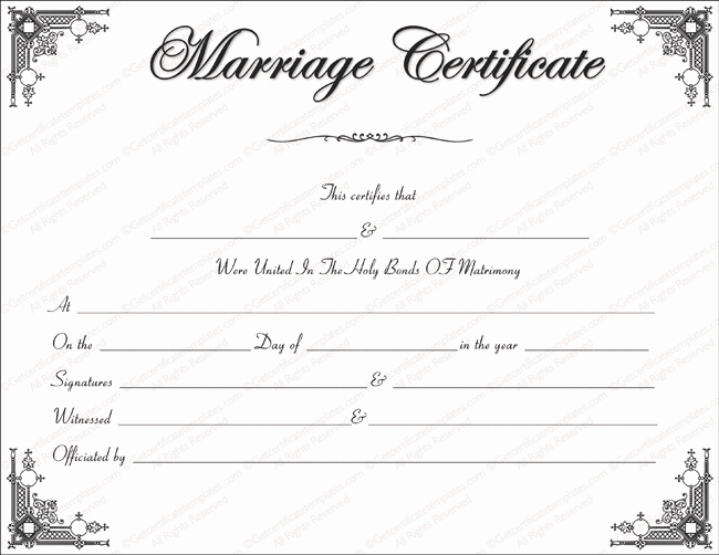 Fake Marriage Certificate Template Lovely Intimacy Marriage Certificate Template Get Certificate