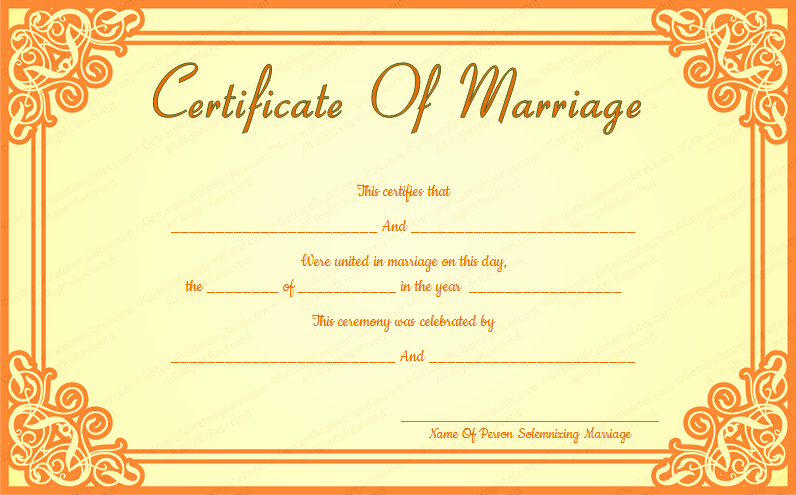 Fake Marriage Certificate Template Luxury orange Frame Wedding Certificate Template