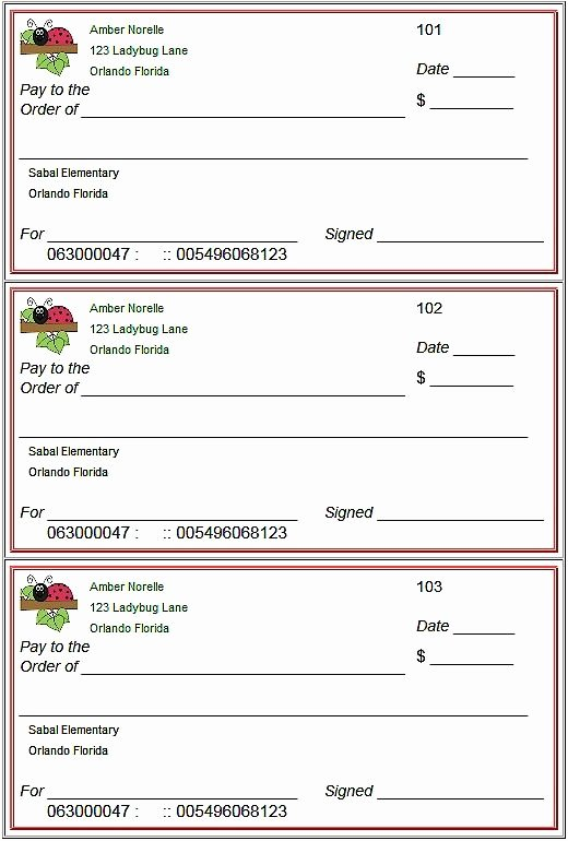 Fake Money order Template Awesome Blank Checks Template Printable Play Checks for Kids
