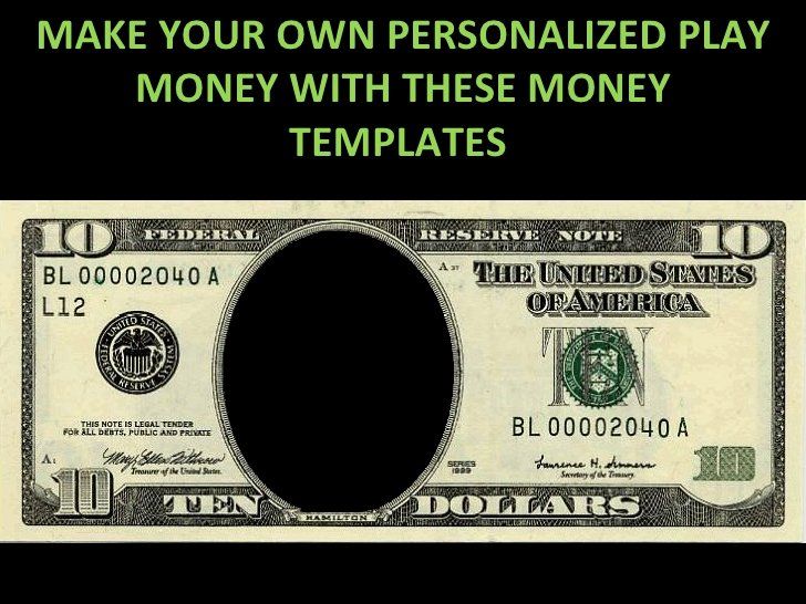 Fake Money Template Word Lovely Play Money Personalized Templates 9