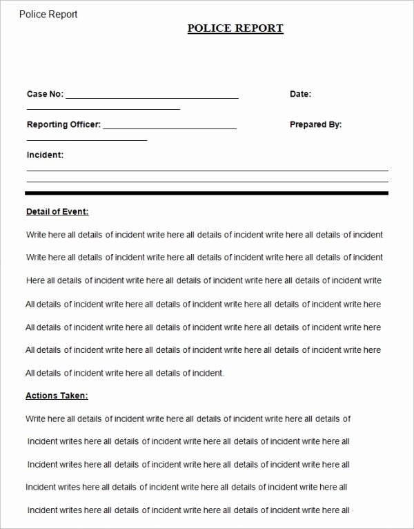 Fake Police Report form Best Of 19 Sample Police Report Templates Pdf Doc