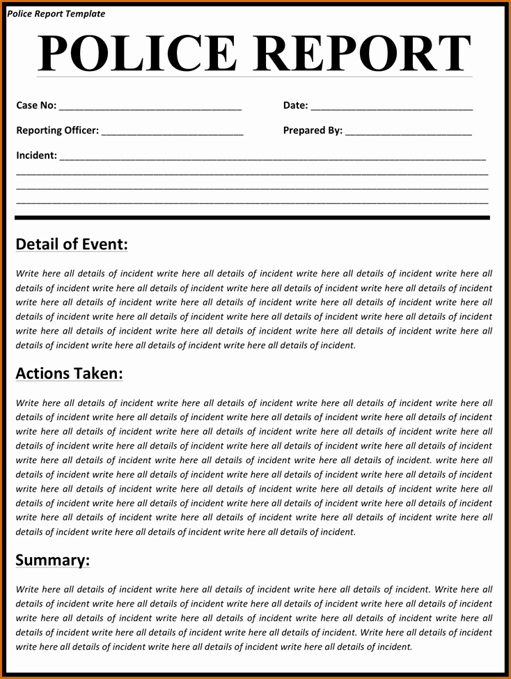 Fake Police Report form Unique 4 Police Report Template