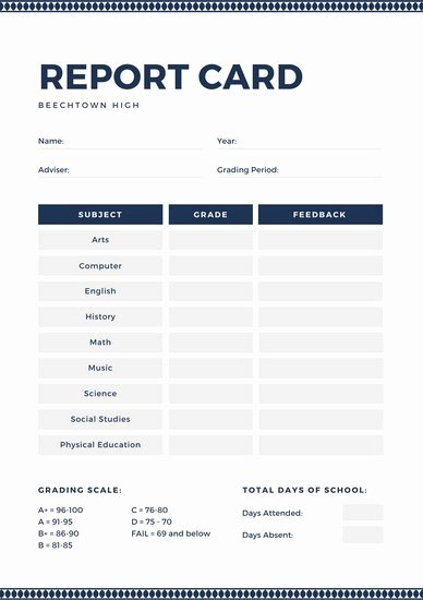 Fake Report Card Generator Elegant High School Report Card Template