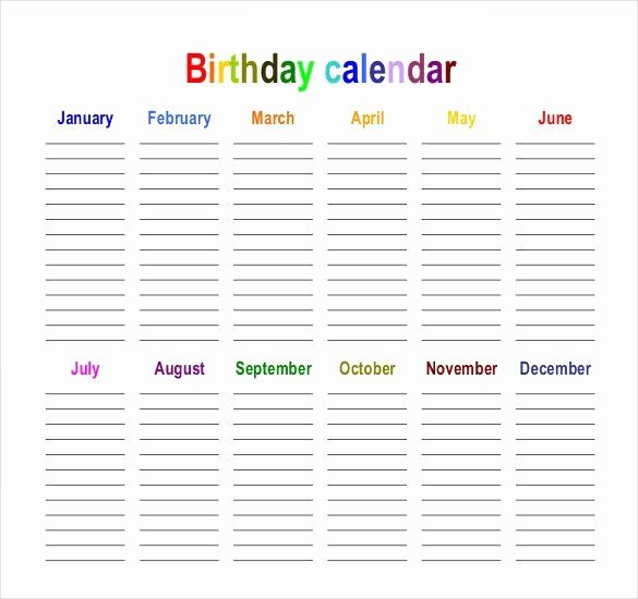 Family Birthday Calendar Template Beautiful Birthday Calendar Calendar Template
