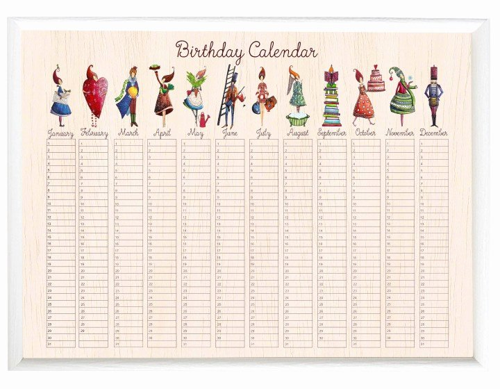 Family Birthday Calendar Template Beautiful Birthday Calendar