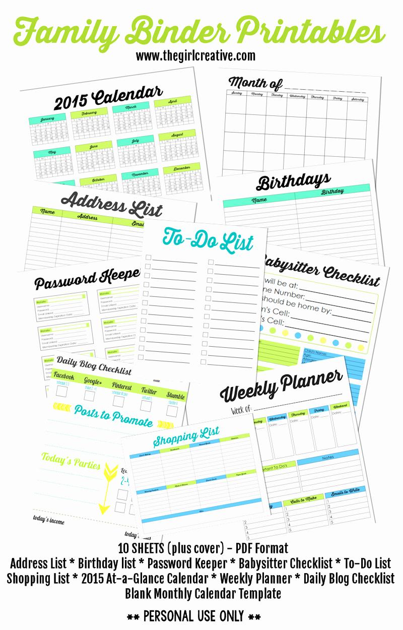 Family Birthday Calendar Template Beautiful Family Binder Printables the Girl Creative