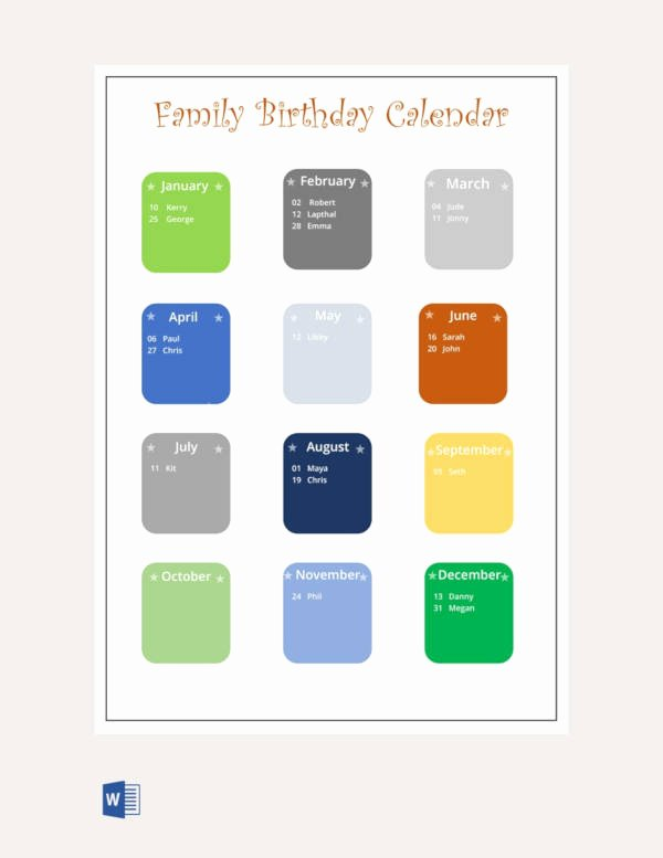 Family Birthday Calendar Template Best Of 43 Birthday Calendar Templates Psd Pdf Excel