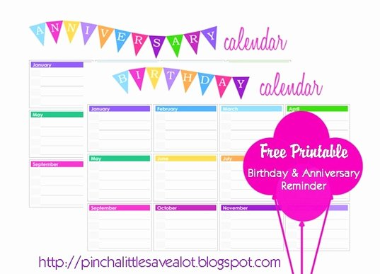 Family Birthday Calendar Template Elegant Birthday and Anniversary Calendar