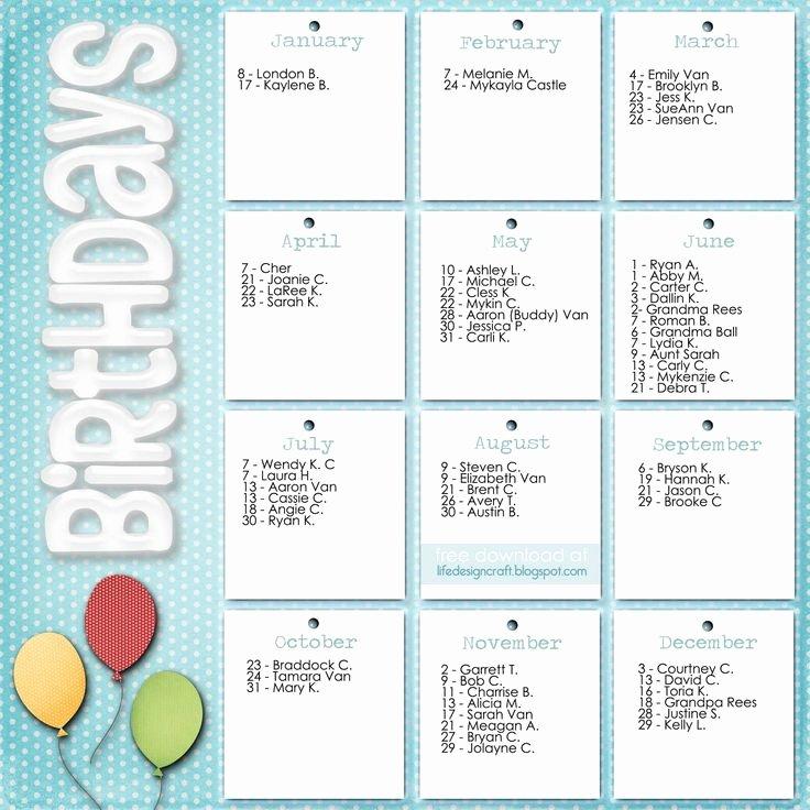 Family Birthday Calendar Template Elegant Family Birthday Calendar Template Carols Board