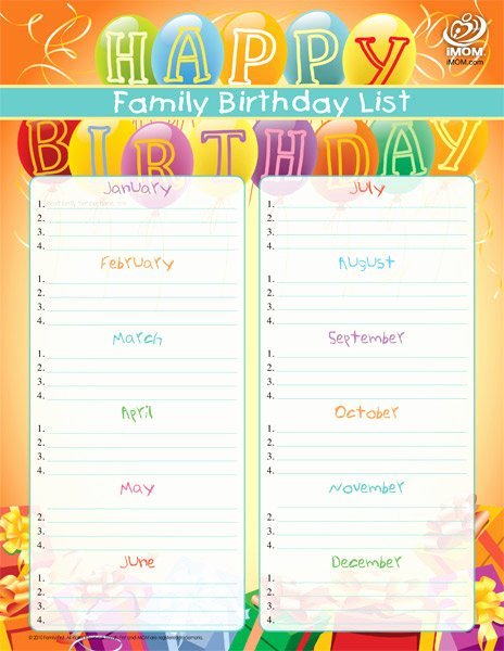 Family Birthday Calendar Template Lovely Family Birthday List Imom