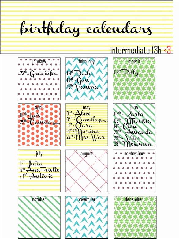 Family Birthday Calendar Template Luxury 21 Birthday Calendar Templates Free Sample Example