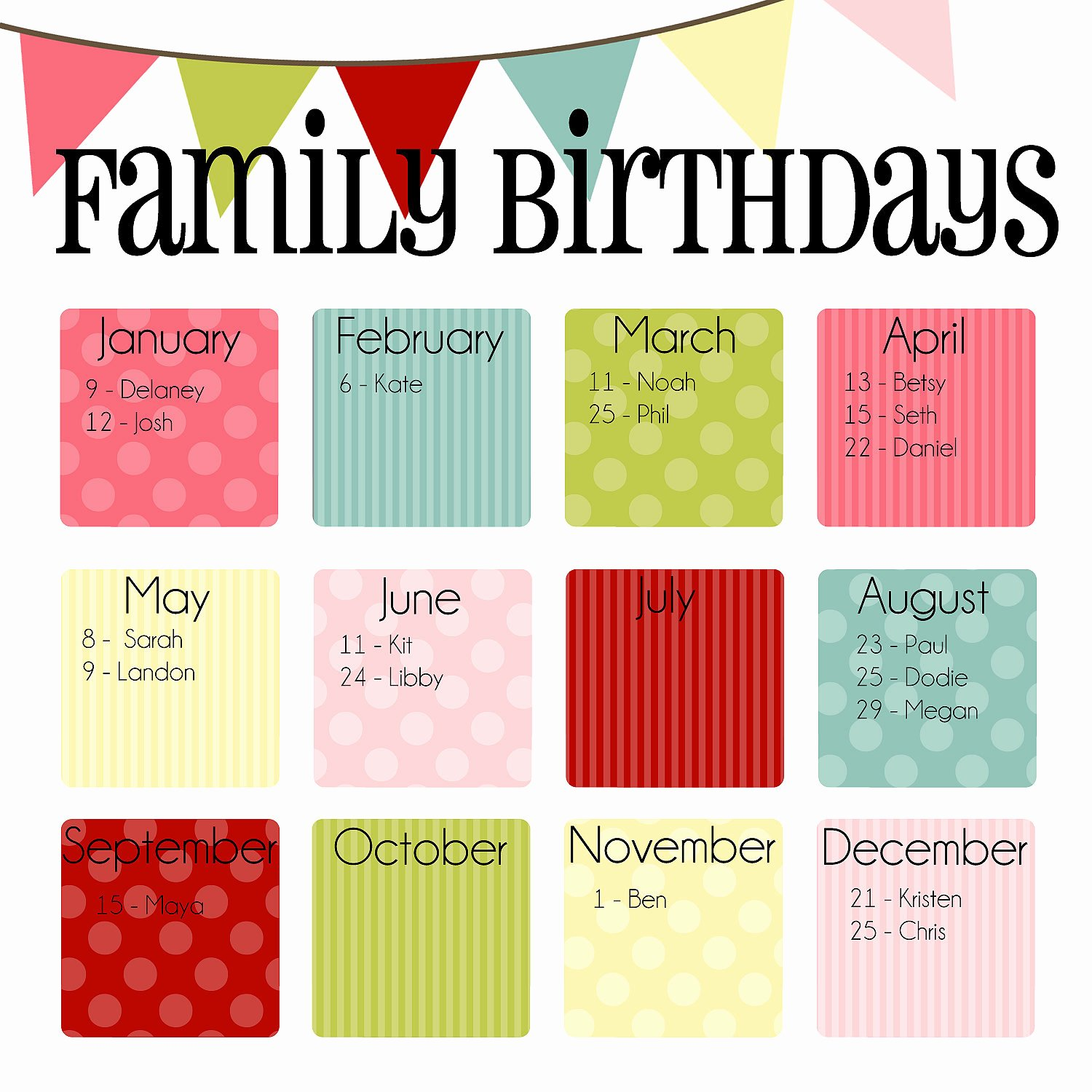 Family Birthday Calendar Template New Items Similar to Family Birthday Calendar Digital Copy