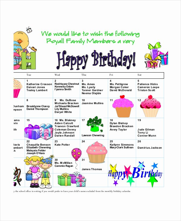 Family Birthday Calendar Template Unique Index Of Cdn 3 1999 904