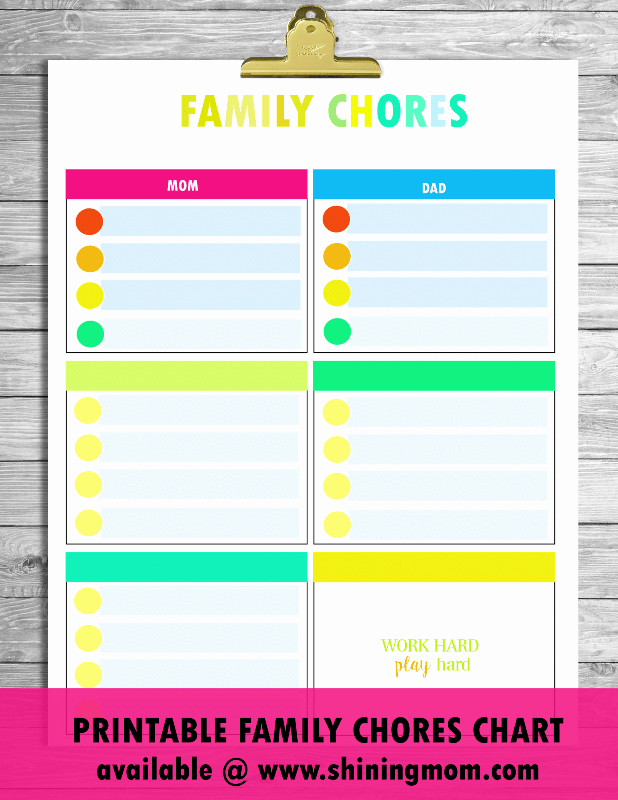 Family Chore Chart Printable Beautiful Free Printable Chore Charts that Work