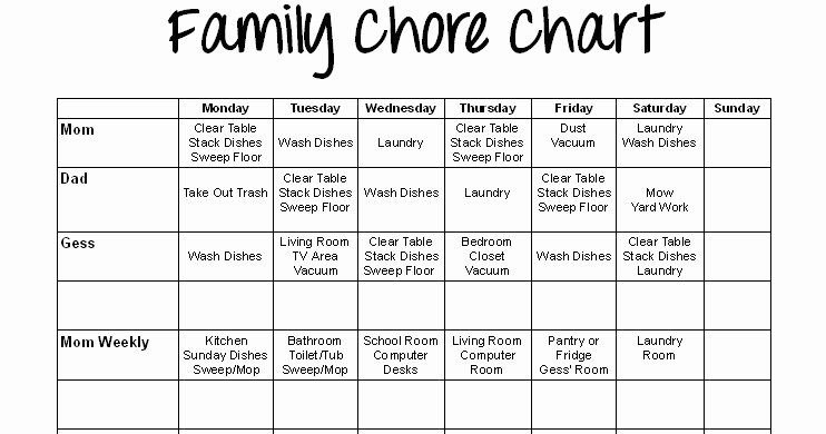 Family Chore Chart Printable Luxury Special Connection Homeschool Printable Family Chore Chart