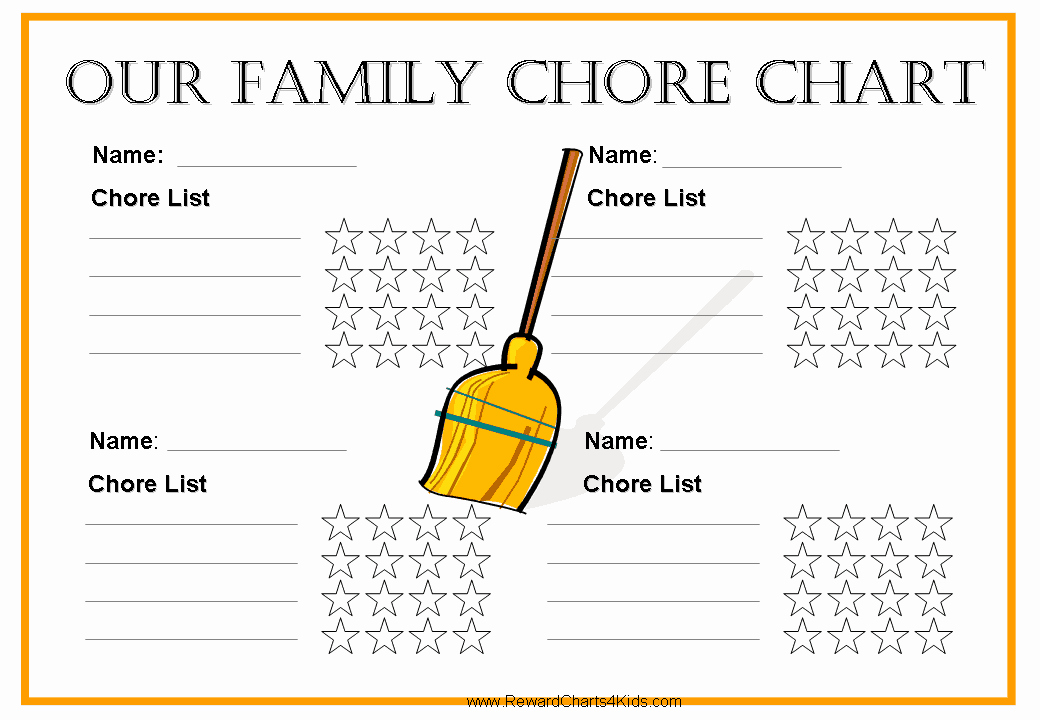 Family Chore Chart Printable New Free Family Chore Chart