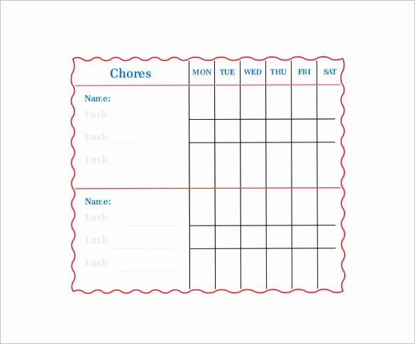Family Chore Chart Templates Best Of Family Chore Chart Template – 13 Free Sample Example
