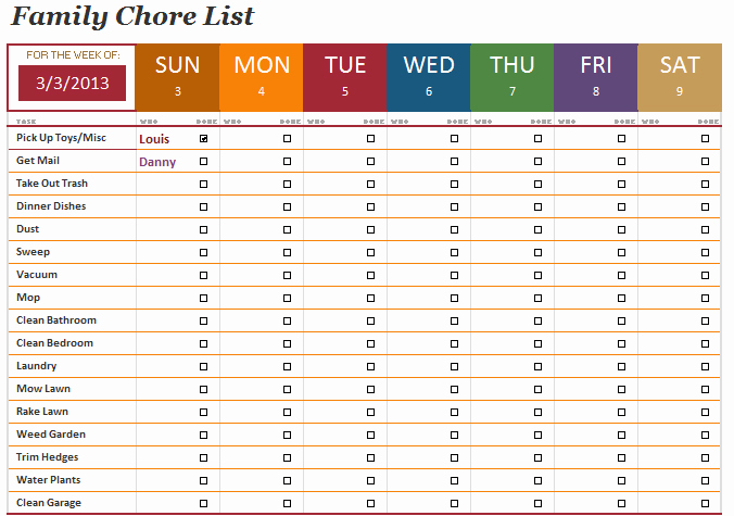 Family Chore Chart Templates Best Of the Family Chore List Template Will Help You Manage the