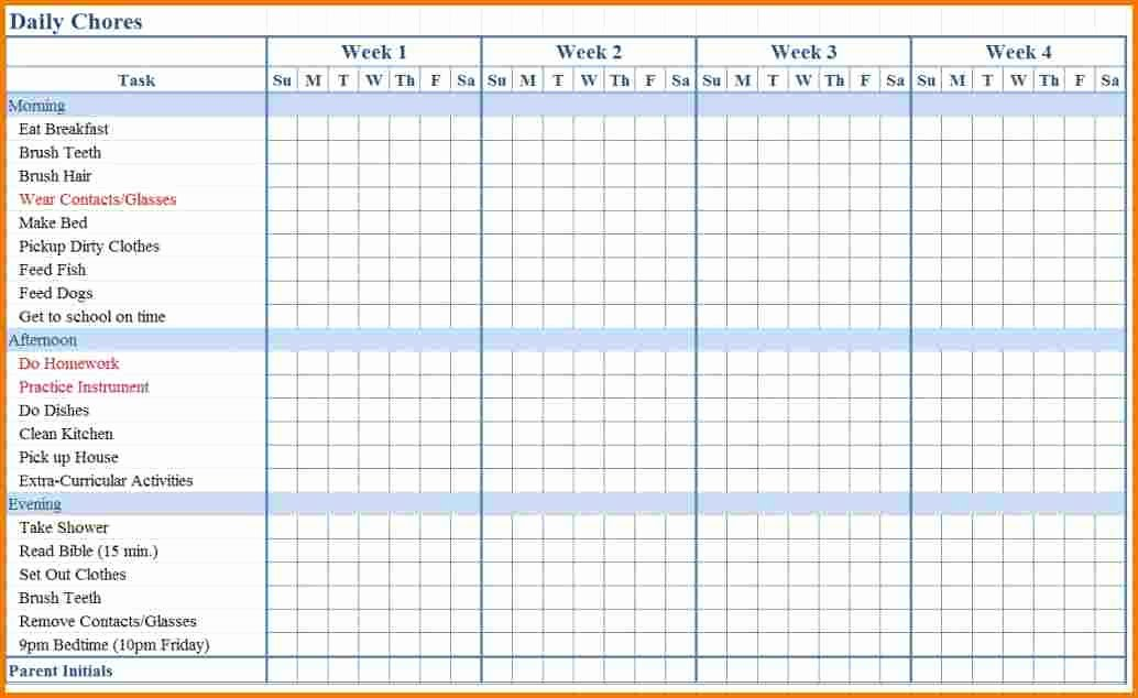 Family Chore Chart Templates Fresh Chore List Template
