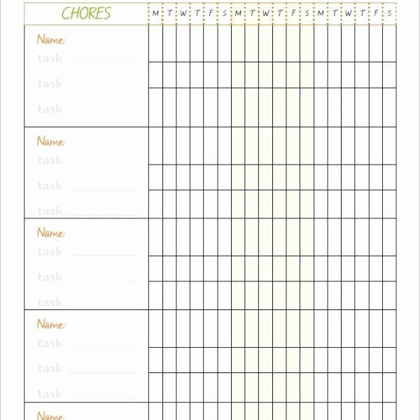 Family Chore Charts Templates Luxury Family Chore Chart Template – 10 Free Word Excel Pdf