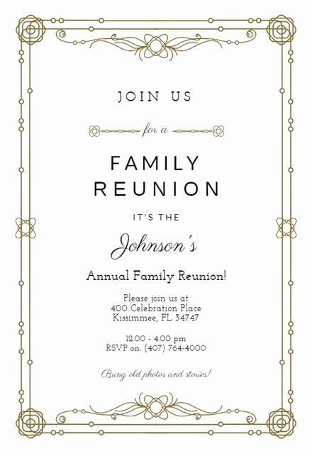Family Get together Invitation Letter Luxury Family Reunion Invitation Templates Free