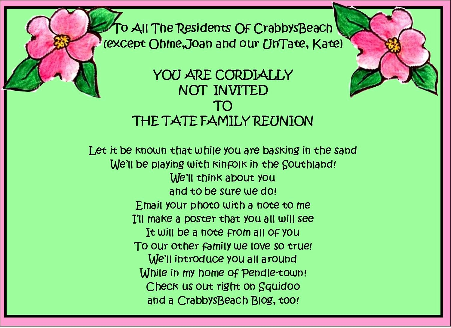 Family Reunion Invitations Letter Awesome Family Reunion Favors