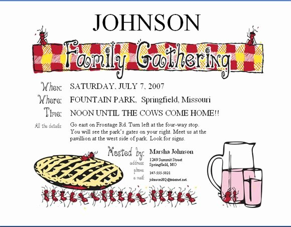 Family Reunion Invitations Letter Beautiful 12 Best Picnics Family Reunions Invitations Images On