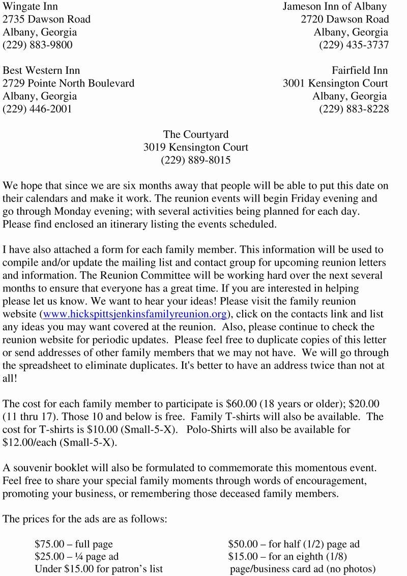 Family Reunion Letter Templates Elegant Reunion Activities