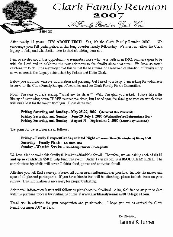 Family Reunion Letter Templates Inspirational Clark Family Reunion 2007 Opening Letter