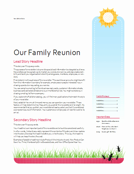 Family Reunion Letter Templates Lovely Family Reunion Newsletter Template