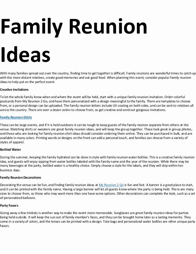 Family Reunion Letters Template Lovely Family Reunion Ideas