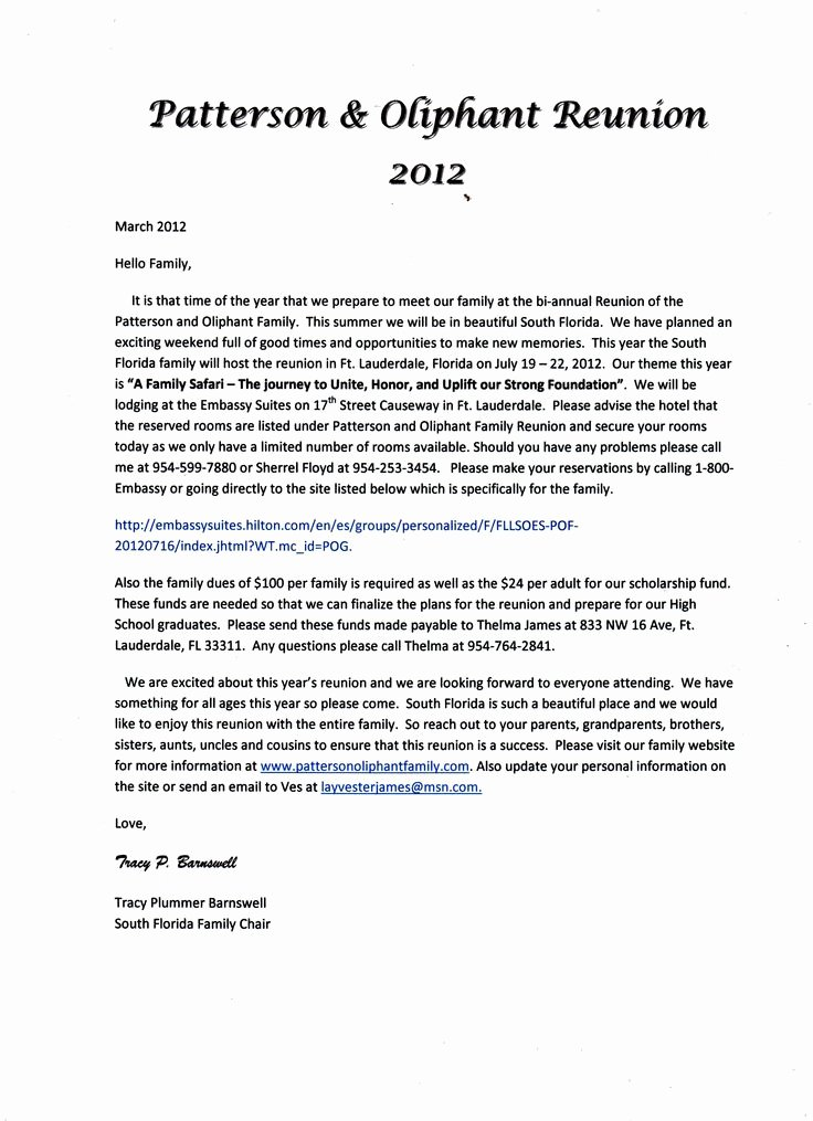 Family Reunion Letters Template Luxury 17 Best Images About Family Reunion Ideas On Pinterest