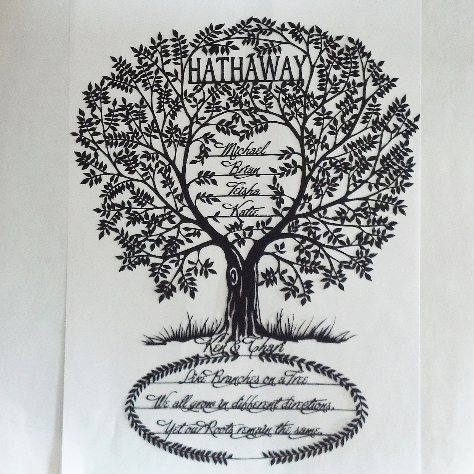customized family tree paper cut