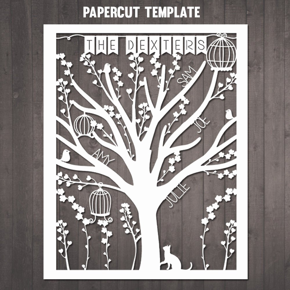 Family Tree Cut Out Fresh Diy Family Tree Papercut Template Personalised Family Tree