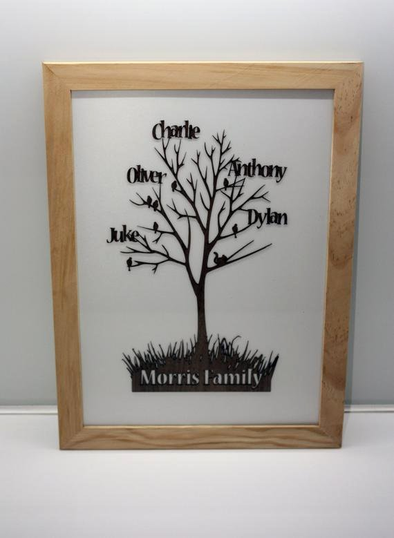 Family Tree Cut Out Fresh Personalised Family Tree Cut From Wood and Framed by sortboxuk