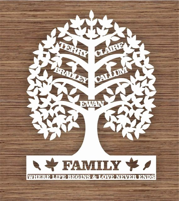 Family Tree Cut Out Luxury Custom Leaf Family Tree for 5 Five Family Members Pdf