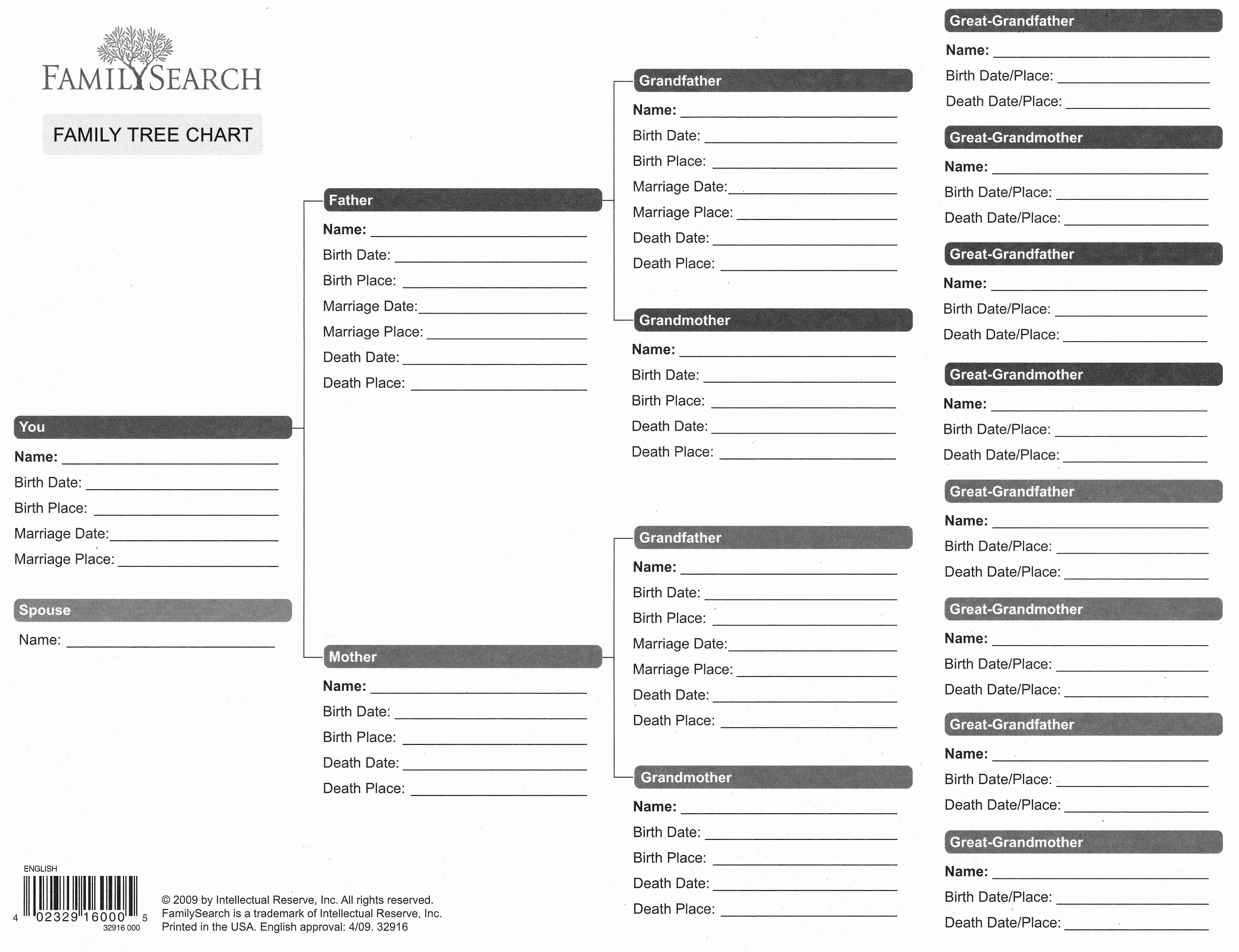 Family Tree forms and Charts Fresh Blank Family Tree form