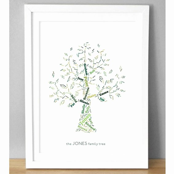Family Tree Images to Print Awesome Personalised Family Tree Art Print