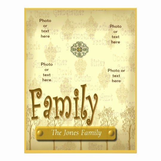 Family Tree Poster Template Awesome Family Tree Genealogy Flyer or Scrapbook Template