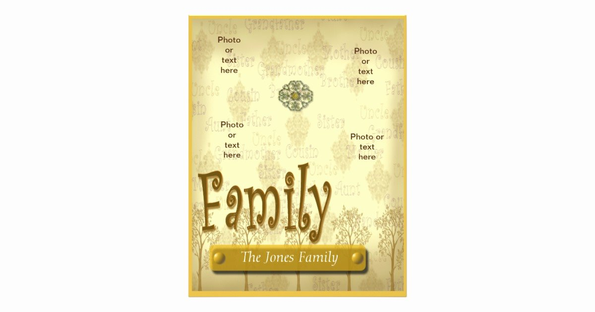 Family Tree Poster Template Beautiful Family Tree Genealogy Flyer or Scrapbook Template