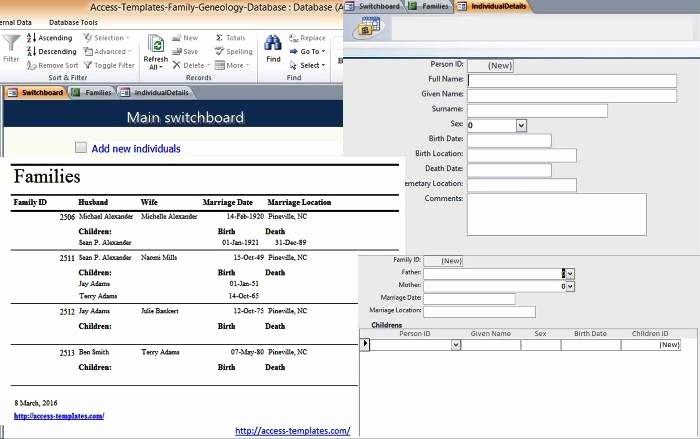 Family Tree Template Microsoft Office Elegant Microsoft Access Family Tree Genealogy History Templates