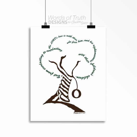 Family Tree Word Art Awesome Family Tree Word Art Print Scripture Psalm 103 7