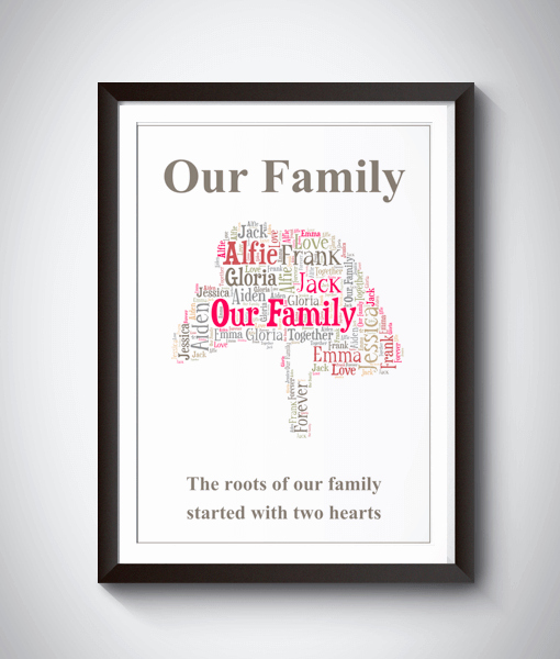 Family Tree Word Art Awesome Personalised Family Tree Word Art