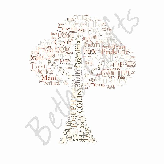 Family Tree Word Art Beautiful Personalised Word Art Family Tree Print No Word Limits
