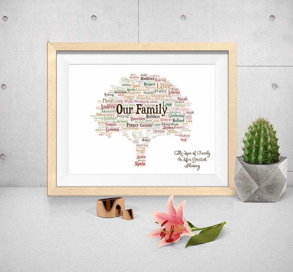 Family Tree Word Art Elegant Family Tree Design Personalised Word Art Print