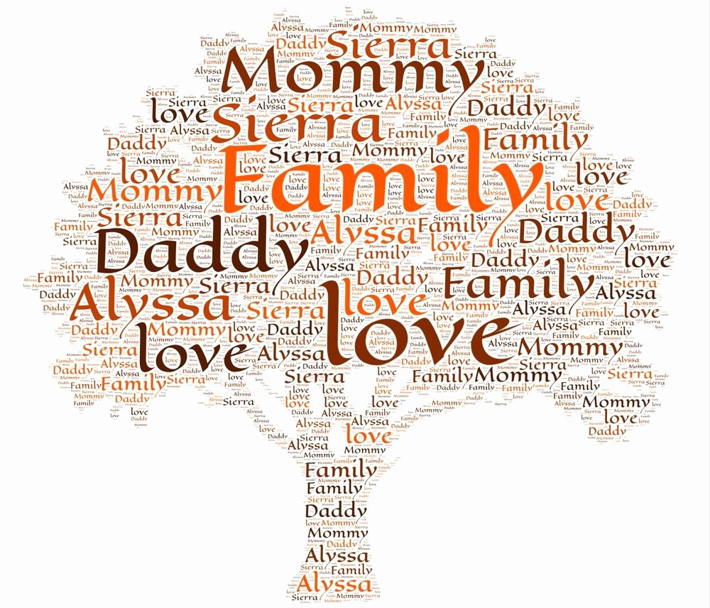 Family Tree Word Art Inspirational A4 Personalised Family Tree Word Art Gift Keepsake Bespoke