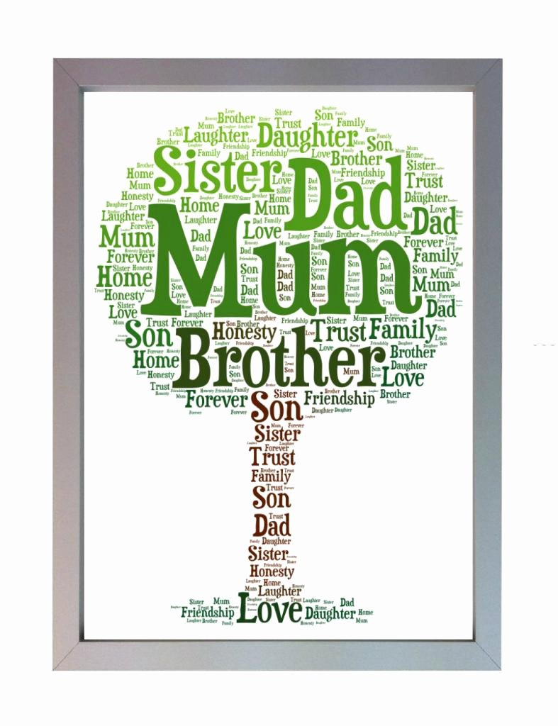 Family Tree Word Art Lovely Framed Personalised Family Tree Word Art A4 Print [pa18