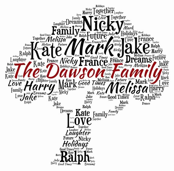 Family Tree Word Art Lovely Personalised Word Art Family Tree Design A4 Print or