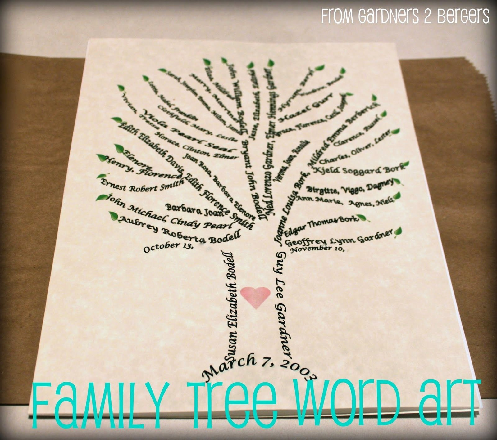 Family Tree Word Art New From Gardners 2 Bergers Family Tree Word Art [tutorial